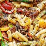 recette-vegetarienne-macaroni-asperges-poivrons-tomates-sechees