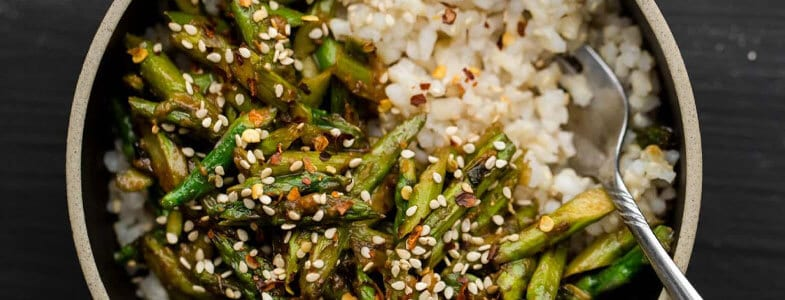 Riz et asperges sautées sauce miso