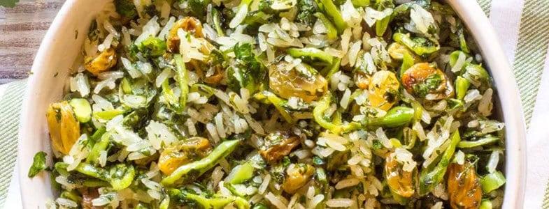 recette-vegetarienne-riz-herbes-raisins