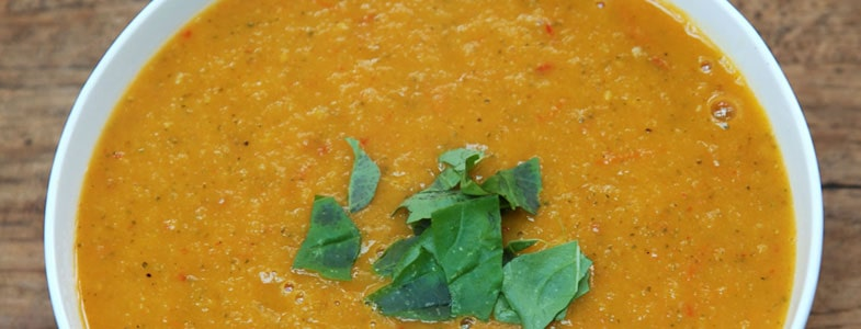 Soupe de courgettes et tomates