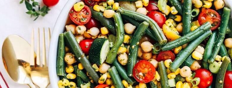 Pois chiches aux haricots verts et tomates