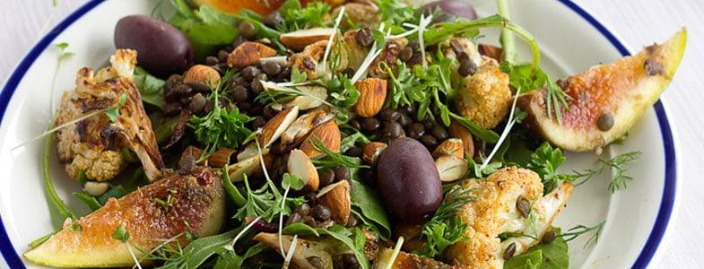 Salade de lentilles, chou-fleur et figues