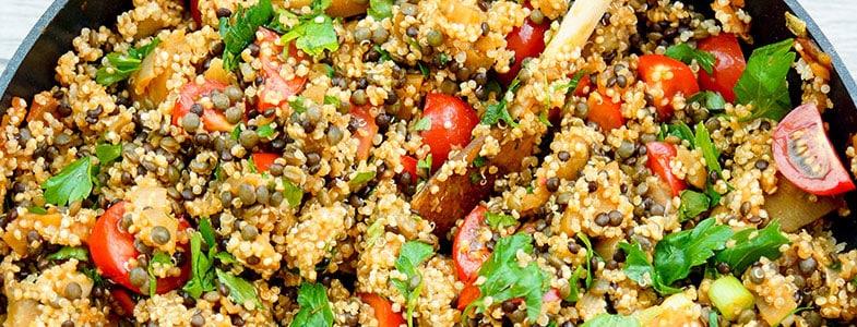 Lentilles, quinoa et aubergines