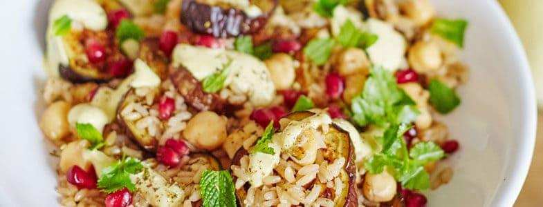 Aubergines grillées, riz, sauce tahin