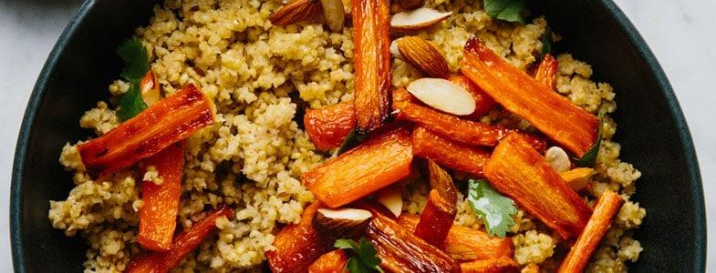 Couscous de millet aux carottes rôties