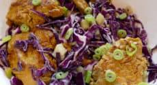 Salade de seitan au curry et chou rouge