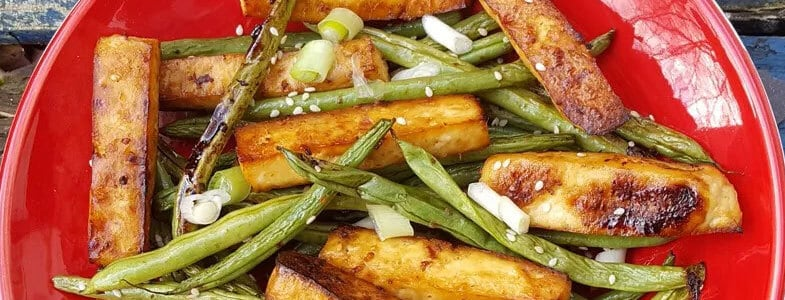 Tofu rôti au miel et haricots verts