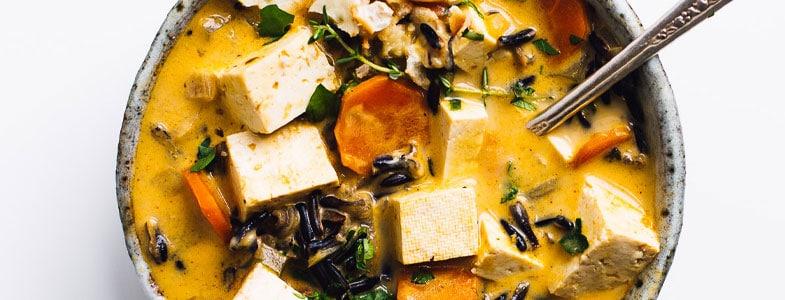 Bouillon au riz sauvage et tofu