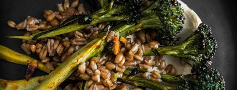Epeautre au brocoli rôti et houmous