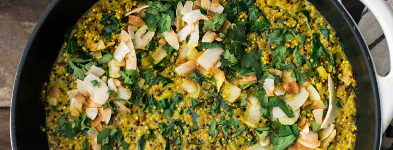 Quinoa au curcuma et chou kale
