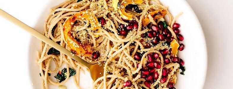 Spaghettis a la courge delicata et grenade