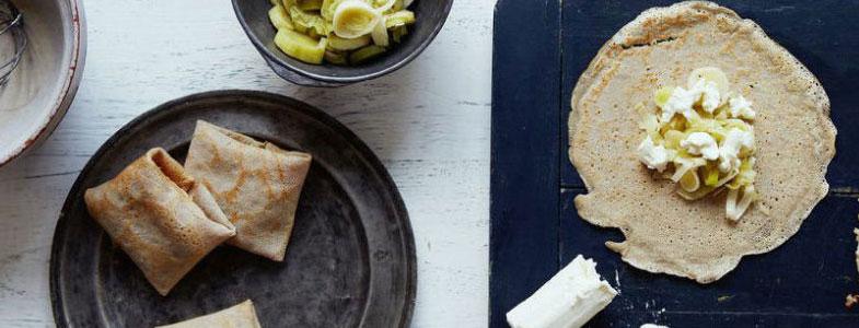 Recette végétarienne - galettes de sarrasin à la fondue de poireau et chèvre