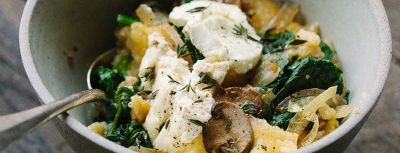 recette-vegetarienne-polenta-gratinee-champignons-epinards-chevre