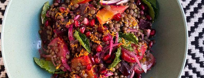 Salade de lentilles, betteraves et grenade
