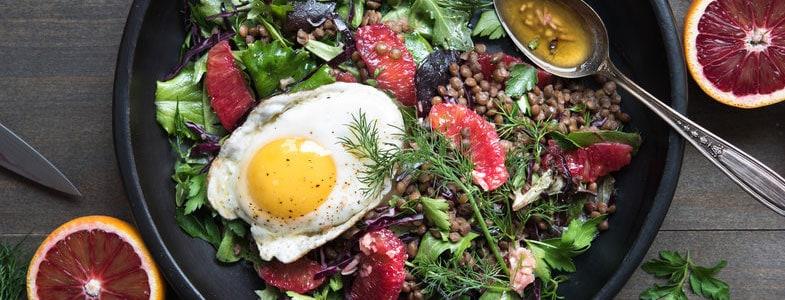 Salade d'hiver aux lentilles et oranges sanguines