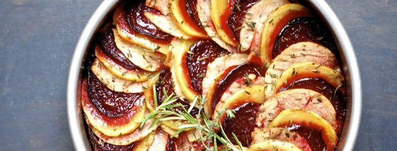 Tian de betteraves, pommes de terre et pommes