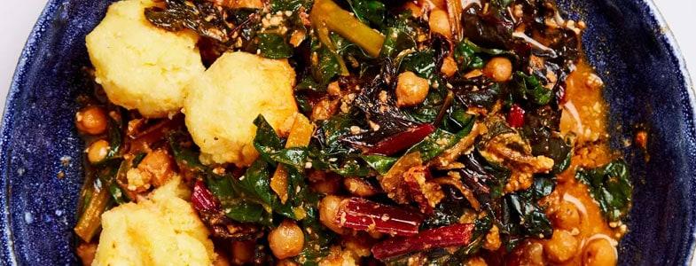 Casserole de pois chiches aux blettes et polenta