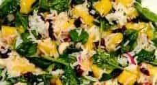 Salade d'automne au riz et mangue, sauce citron