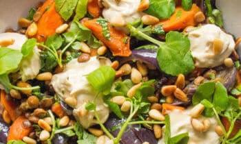 Lentilles et carottes rôties au cumin, fromage de cajou