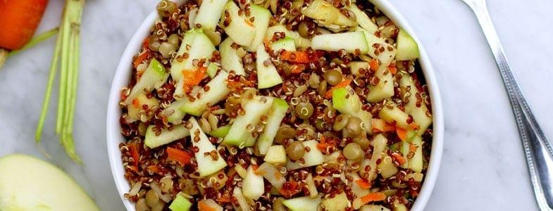 Salade de quinoa, lentilles et pommes