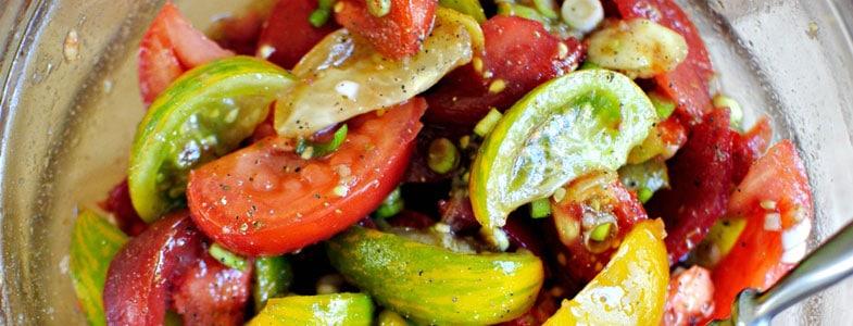 Tomates vinaigrette et cébette