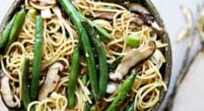 Spaghettis aux haricots verts et shiitake