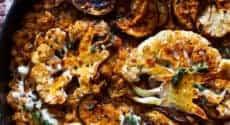 Lentilles corail aux aubergines et chou-fleur rôtis