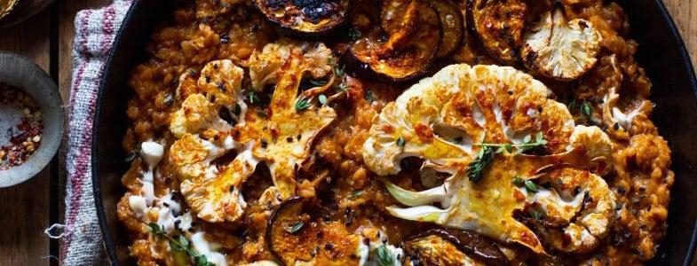 recette-vegetarienne-lentilles-corail-aubergines-chou-fleur-rotis