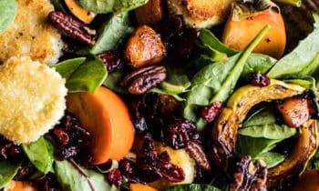 Salade de courge, kaki et cranberries