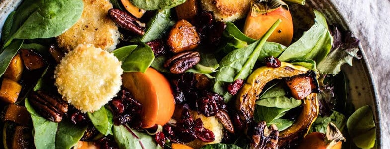 Salade de courge, kaki et cranberries