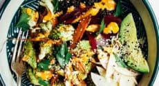 Salade de lentilles d'automne, sauce tahin goji