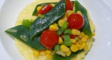 Polenta au maïs et haricots plats