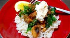 Riz et champignons miso au chou kale
