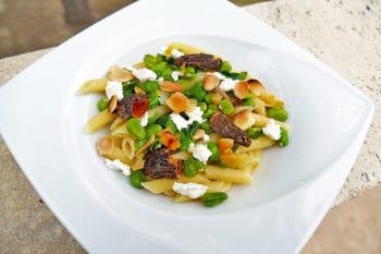 recette-vegetarienne-penne-morilles-feves