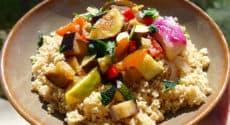 Couscous au cumin et figues, et légumes rôtis au miel