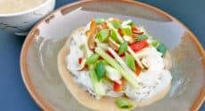 Nouilles de riz, légumes croquants, crème de noix de cajou