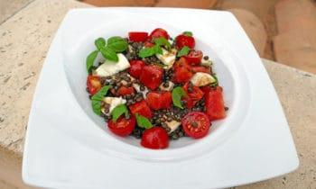 Salade de lentilles beluga, pastèque et mozza